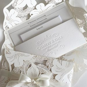 Vintage Lace Invitation Open