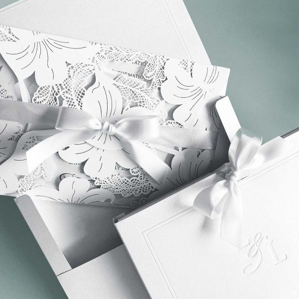 Vintage Lace Invitation With A Slide Box