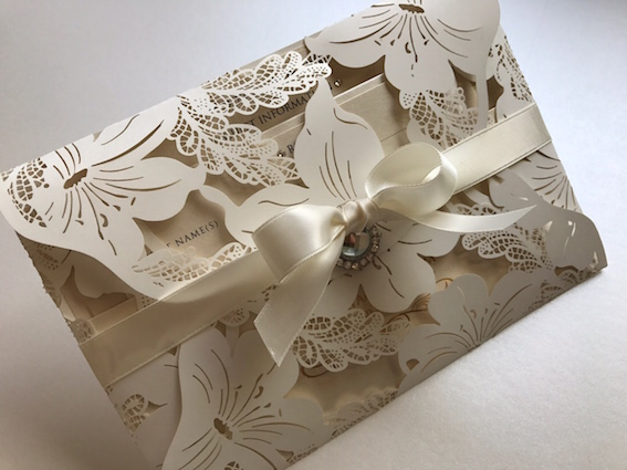Laser Cut Invitation with Bow