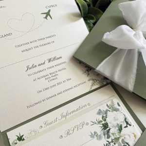 Invitation with White Flower Design