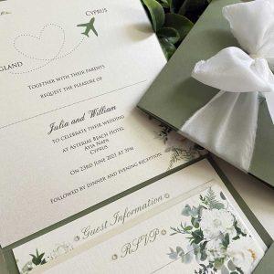 Invitation with White Flower Design