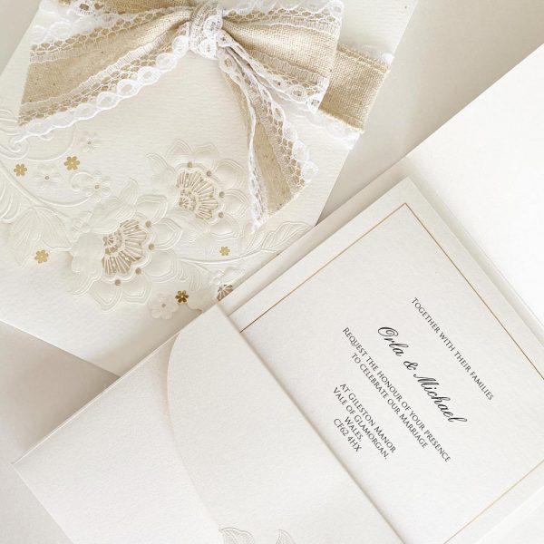 Elegant Embossed Flowers with Opened Envelope