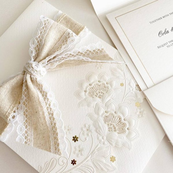 Elegant Embossed Flowers with Bow